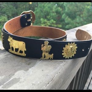 Vintage German Bavarian Oktoberfest Leather Belt